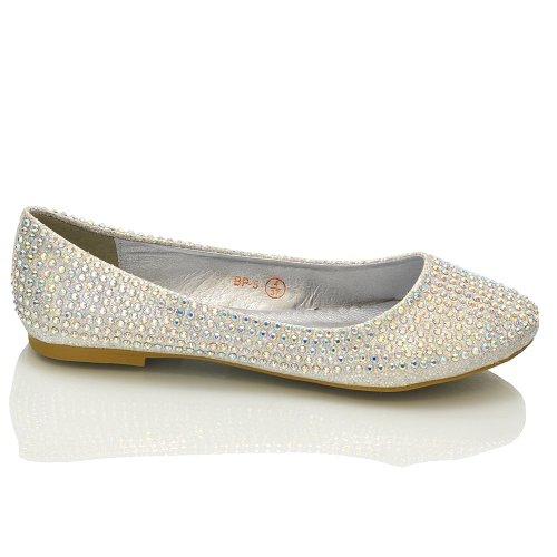 ESSEX GLAM, Ballerine donna Argento (Silver Glitter)