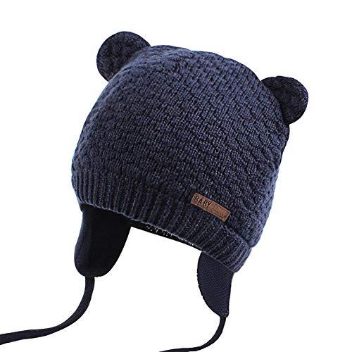 JOYORUN Unisex - Baby Mütze Beanie Strickmütze Unifarbe Wintermütze Navy Blau L
