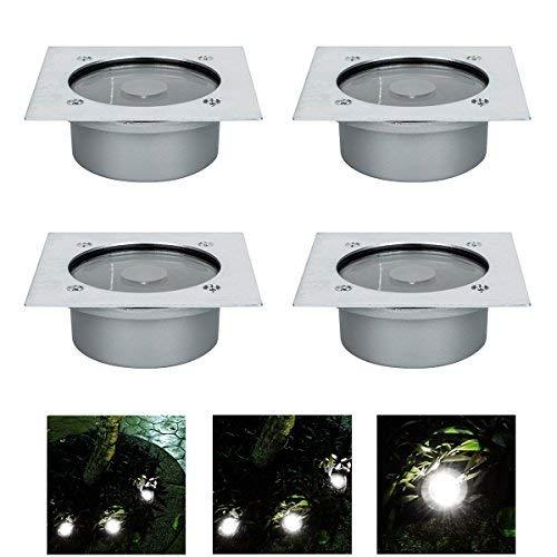 4x LED Solar Bodeneinbaustrahler Außen Led Bodenspot für IP65 Terrasse Bodenleuchte Gartenlampe Solar WarmWeiß Außenleuchte Weihnachten (10.5 cm breit)