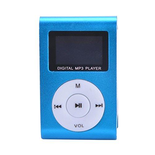 TechSmile® Brand NEW Mini MP3 Player Clip USB FM Radio LCD Screen Support for 32GB Micro SD (Blue)