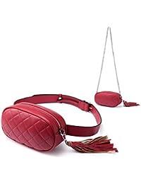 Riñonera para Mujere, Moda Fanny Pack, PU Cuero Cinturón Bolsa de Hombro Paquete Cintura