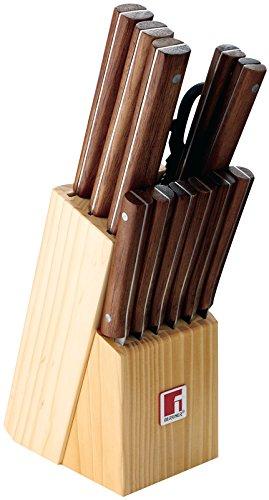 Bergner Q1914 Nature - Set de 11 Couteaux, Ciseaux et Tacoma, 13 pièces, 36 cm, Couleur Marron