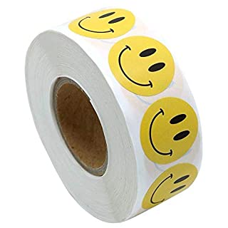 EROSPA® 500 Stück Smiley Sticker   Aufkleber Rund Ø 25 mm - 1 Rolle - Lächelnd - Gelb
