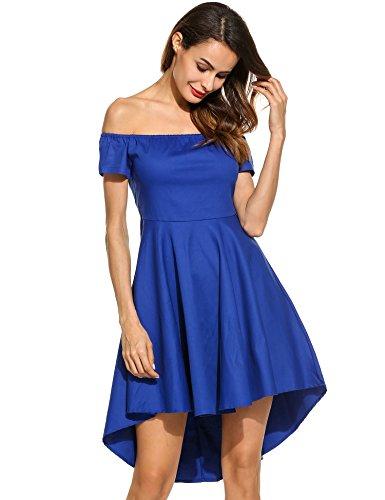 ACEVOG Damen sexy Schulterfreies Kleid Abendkleid PartyKleid Cocktailkleid Asymmetrisch Swing A-Linie Kleid Einfärbig Blau