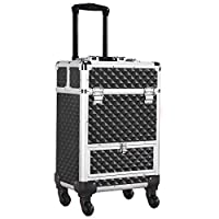 Yaheetech Makeup Train Case/Cosmetic Case/Trolley/Suitcase/Box Large Capacity Trolley with 4 Retractable Trays and 1 Smooth Sliding Drawer Black