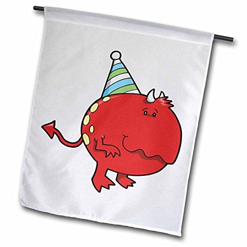 3drose FL _ 102278_ 1Cute rot Geburtstag Monster Cartoon Garten Flagge, 12von 18 (Cartoon-zeichnung Cute)