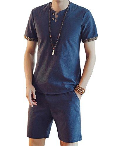 Herren Chinesische Art V-Neck Leinen T-Shirt Slim Fit Einfacher Stil Shorts Einfarbige Farbe Zweiteilige Grau Blau XL
