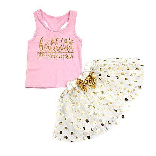 SCFEL Kleinkind Baby Mädchen Brief drucken ärmellose Tank Top + Polka Dot Bowknot Tüll Rock 2 Stück Kleidung Set -