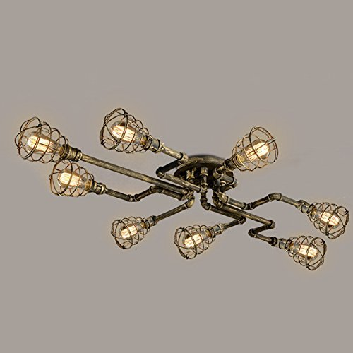 BAYCHEER Deckleuchte Industrielampe 6 Lampenfassung 65cm Retro Kupfer Semi Flush Deckenlampe Kronleuchte Pendellampe (8 Lampen) - 2