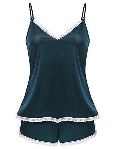 CRAVOG 2016 Sexy Pyjama Satin 2 Pièce Ete Femme Lingerie Nuisette Sleepwear Camisole Bretelle Dentelle +