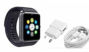 MIRZA Smart Watch & Mobile Charger for HTC ONE E9+(Mobile Charger & GT08 Smart Watch Phone with Camera & SIM Card Support Hot Fashion New Arrival Best Selling Premium Quality Lowest Price with Apps like Facebook,Whatsapp, Twitter, Sports, Health, Pedometer, Sedentary Remind,Compatible with Android iOS Mobile Tablet-Silver Color)