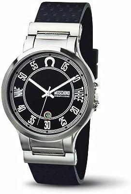 Moschino MW0059 - Reloj analógico de caballero de cuarzo con correa de goma negra - sumergible a 30 metros