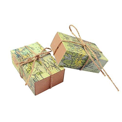 Jzk® 50 x mappa verde scatolina scatola portaconfetti originale bomboniera segnaposto per festa di tema viaggio matrimonio compleanno laurea battesimo pensionamento, scatoline bomboniere regalo cartoncino