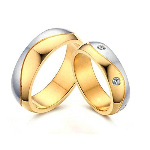 Amody 1 Paar Edelstahl Ring Engagement Ehering Jubiläum Versprechen Geschenk für Paar Gold Silber 6MM gerillte Matte mit Zirkonia Ringe Frauen 60 (19.1) & Männer 65 (20.7) (Für Batman Ringe Paare)