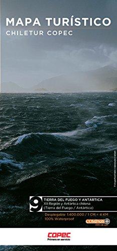 Chile regionale Karte Blatt 9 Tierra del Fuego y Antártica / Feuerland und Antarktis, Patagonien ( Regionen XII Antártica chilena) wasser- und reißfeste Straßenkarte 1:550.000 / 1:5Mio.