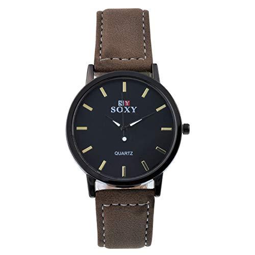 Souarts Herren Schwarz Retro Stil Kunstleder Armbanduhr Quartzuhr Uhr mit Batterie (Type 1)