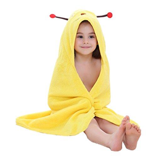 MICHLEY Baby Bademantel Kinder Mädchen Kapuzenbadetuch 90x90cm Badetücher Tier Baumwolle fit für 0-6 Jahre(Biene)