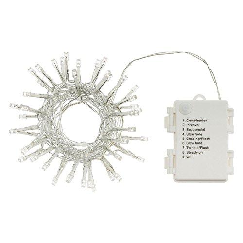 LuminalPark chaîne 2,8 m, 48 LED, avec télécommande et minuterie, câble Transparent, Batterie, extérieur Blanc Froid