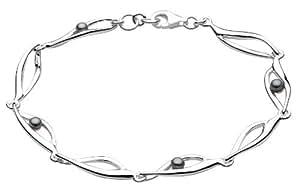 Dew Sterling Silver Pearl Twist Bracelet of Length 18.5cm 78020SP001