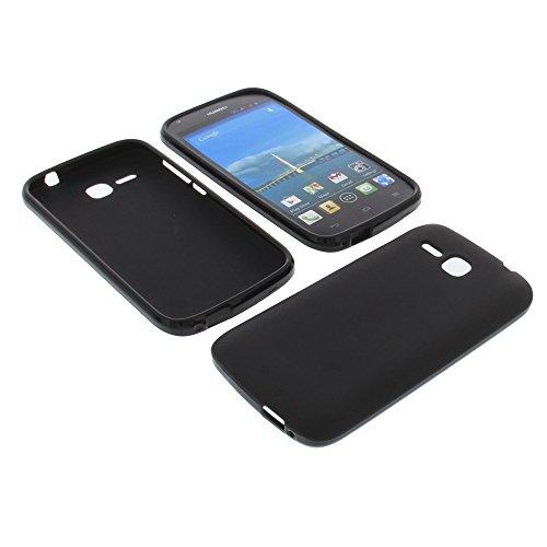 foto-kontor Tasche für Huawei Ascend Y600 Gummi TPU Schutz Hülle Handytasche schwarz