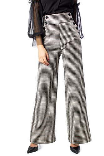 Rinascimento Pantaloni Donna Pied Poule cfc0095069003 m Bianco