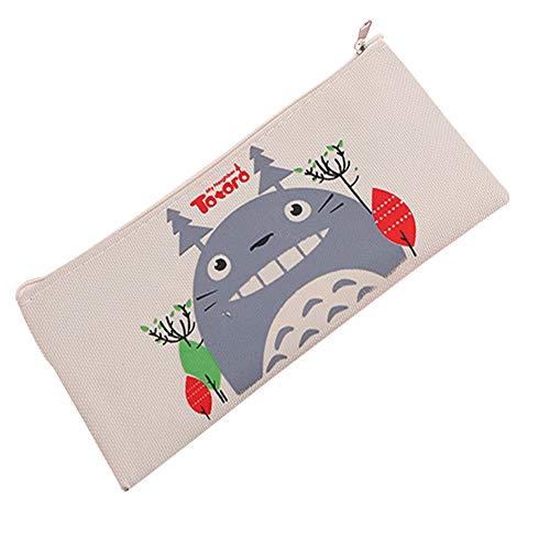Borsa della matita della borsa del fumetto Studenti Pouch Zipper Borsa della moneta multifunzionale Borsa della cancelleria per penne Matite titolare dell'organizzatore (Totoro Beige Figure)