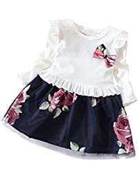 LANSKIRT Ropa de Recién Nacido Infantil bebé niñas Vestido Estampado de Flores del Arco Princesa Vestido de Manga Larga Otoño e Invierno Jumpsuit