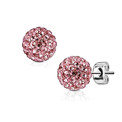 beyoutifulthings Damen 1 Paar GLITZER-KUGEL 5 mm Ohr-ringe Set Ohr-stecker Ohringe Chirurgenstahl Zirkonia Silber Pink