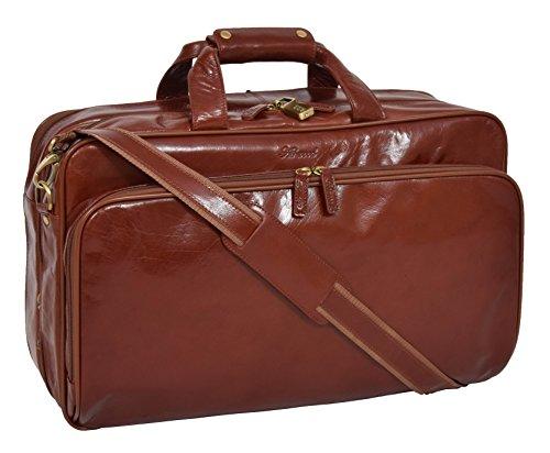 Exklusiver Cognac Reisetasche aus Leder Anzug Träger Gepäck Geschäft Reise Kabinentasche - Smith - Exklusiver Anzug
