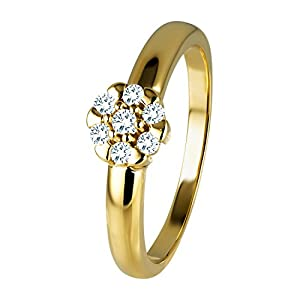 Diamond Line Diamant-Ring Damen 585 Gold mit 7 Brillianten 0.15 ct. Lupenrein