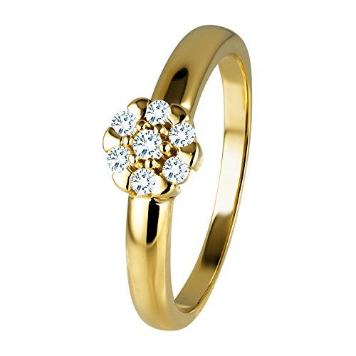 Diamond Line Diamant-Ring Damen 585 Gelbgold mit 7 Brillianten 0.15 ct. Lupenrein