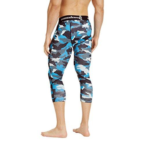 Coolomg compressione pantaloni da corsa a 3/4aderenti pantaloni capri leggings 20+ colori/modelli shorts primo strato, disponibile ad asciugatura rapida per uomo da ragazzo S2-ALB(3/4 length)