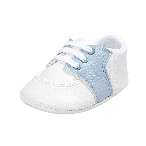 Estamico Baby Jungen Mädchen Schuhe Säugling PU Leder Prewalker Sneakers Blau