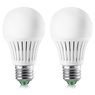Elrigs LED Lampe mit Bewegungsmelder und Dämmerungssensor, E27, 5W ersetzt 40W, Hochfrequenz-Sensor, 5-8 m Reichweite, Kaltweiß (6000 Kelvin), Doppelpack