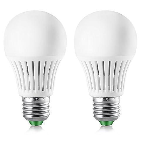 Elrigs LED Lampe mit Bewegungsmelder, E27, 5W ersetzt 40W, Hochfrequenz-Sensor, 5-8 m Reichweite, Kaltweiß (6000 Kelvin), Doppelpack