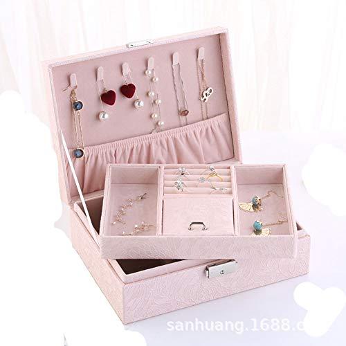 Hbwz Jewellery Box 2 Tier abschließbare Halskette Uhr Aufbewahrungsbox mit Deckel Abnehmbare Trennwand Geschenk für Lieben,lightpink - Tier Schmuck Schrank