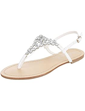 Zehentrenner Damenschuhe Peep-Toe Blockabsatz Zehentrenner Schnalle Ital-Design Sandalen / Sandaletten