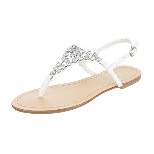 Zehentrenner Damenschuhe Peep-Toe Blockabsatz Zehentrenner Schnalle Ital-Design Sandalen / Sandaletten Weiß N1175-2