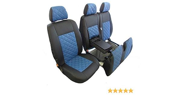 Texmar Passend Für Mercedes Sprinter 2006 2018 Vw Crafter 2006 2018 Rechtslenker Schwarz Blau Eco Leder Sitzbezüge 2 1 1 Einzel 1 Doppel Auto