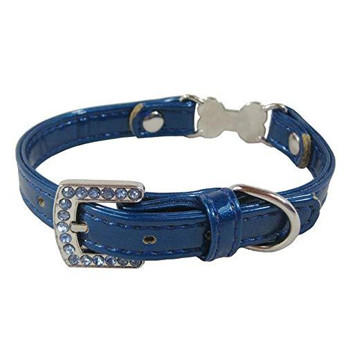 Dixinla Hundehalsband PVC Leder Welpen Halsring Knochen Dekoration, Hals Lang 21-28cm (Von Knochen Dekorationen Tasche)