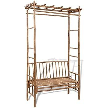 Vidaxl banc en bambou avec pergola banc de jardin meuble pour terrasse balcon jardin - Pergola bambou jardin ...