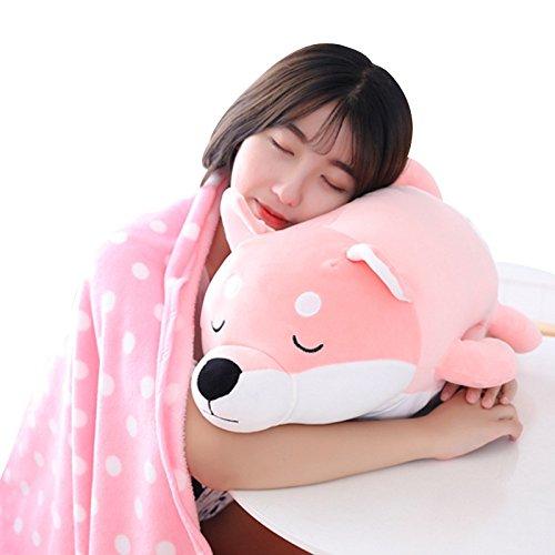 YT Akita Hundepuppe Schlafkissen Soft Shiba Inu Baumwolle Spielzeug Hund Hundekissen Decke Drei in Einem,Rosa,58 * 38cm