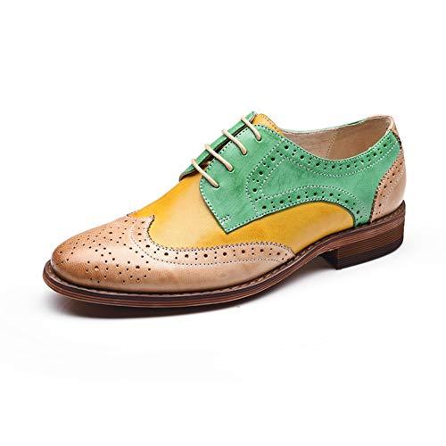 OOFAN Damen Leder Oxfords Perforierte Lace-Up Wingtip Low Heel Carving Brogue Kleid Schuhe Gelbe Und Grüne Farbabstimmung,Yellowgreen,35 Damen Wingtip