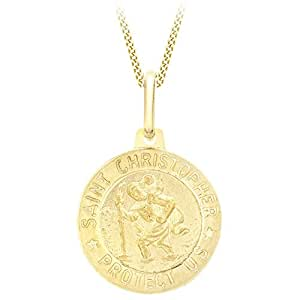 Women Carissima Gold Womens 9 ct Yellow Gold St Christopher Pendant on Curb Chain Necklace 1.42.9213 Jewellery