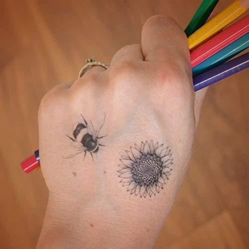 Mini-Biene und Sonnenblume temporäre Tätowierungen. Niedlich, Spaß, Tattoo-Set.