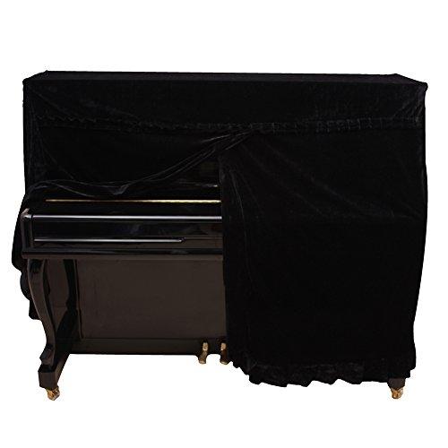 Dilwe Cubierta de Piano Vertical, Colorfast Pleuche Full Piano A Prueba de Polvo Cubierta Decorada(Negro)