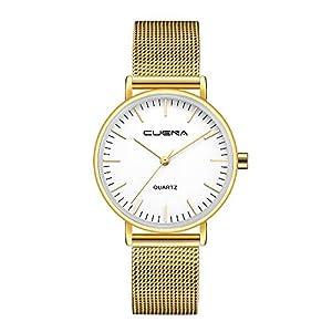 CUENA Herren Damen Simulation Metall Mesh Uhren Klassisch Geschäft Freizeit Quarz Armbanduhr Armband Groveerble