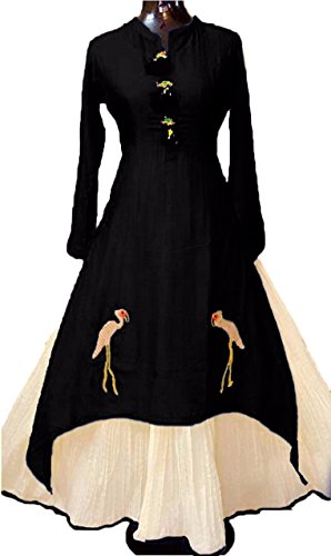 Fkart Women's Cotton Black Embroidered Stitched Stylish Party Wear Kurti With Inner Lehenga