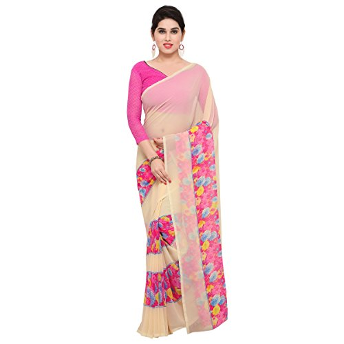 Triveni Womens Chiffon Printed Everyday Wear sarees with Blouse Piece (BeigePink)