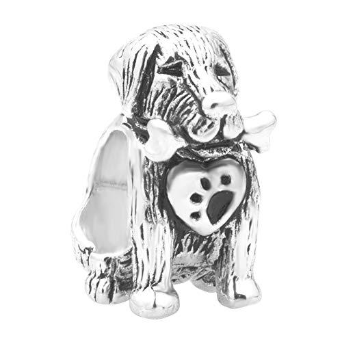 Poetic Charms Retriever Hund Pfote und Knochen Charm 925 Sterling Silber Bead für Europäische Armband -